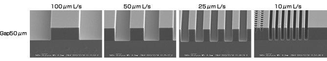 SEM Images Obtained by Performing Simplified Proximity Exposure Using the MA-20	SEM Images Obtained by Performing Simplified Proximity Exposure Using the MA-20